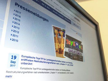 Toys R Us meldet Insolvenz an. Screenshot: Pascal Höfig