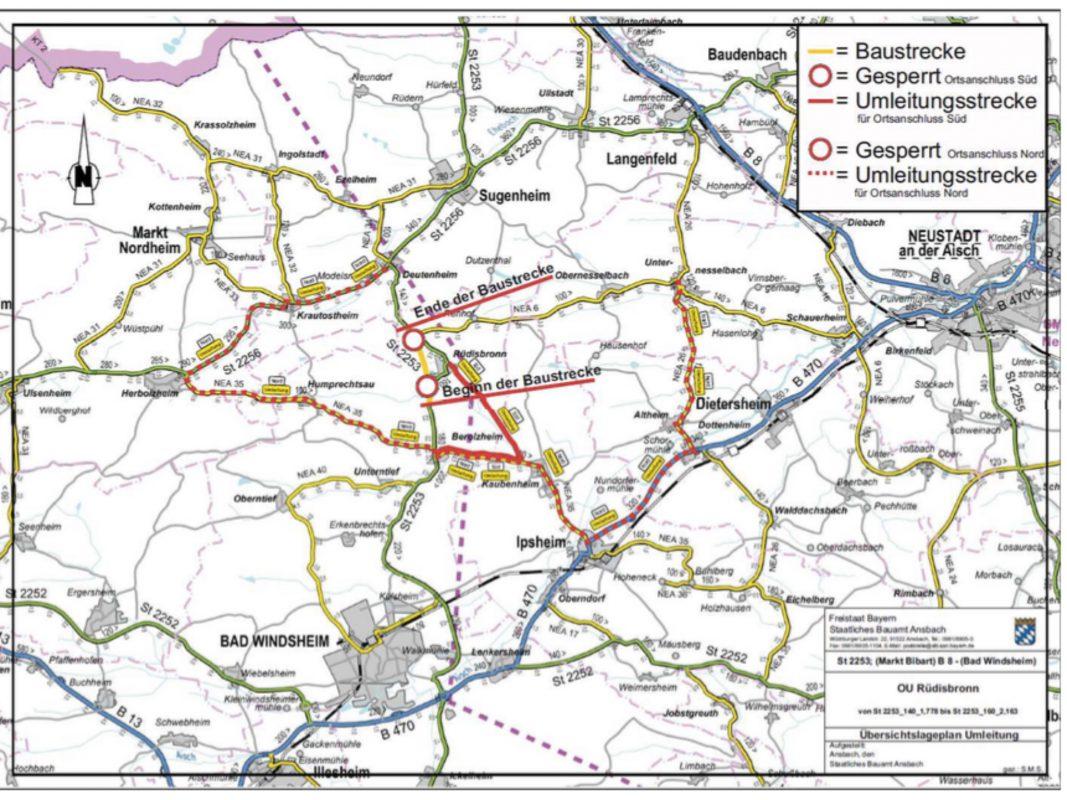 Verkehrsumleitung für Schüttung des Straßendammes nördlich Rüdisbronn - Foto: StBaAn