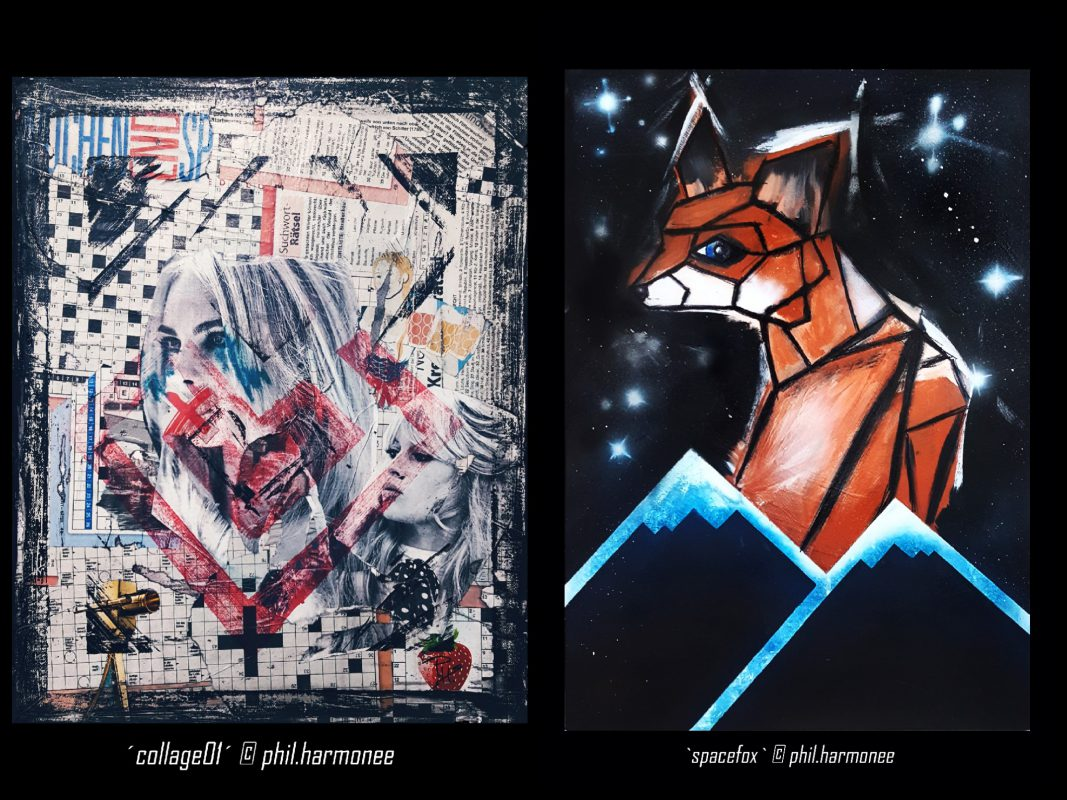"""collage01"" & ""spacefox"" von Philipp Wehrigner. Fotos: Philipp Wehringer"