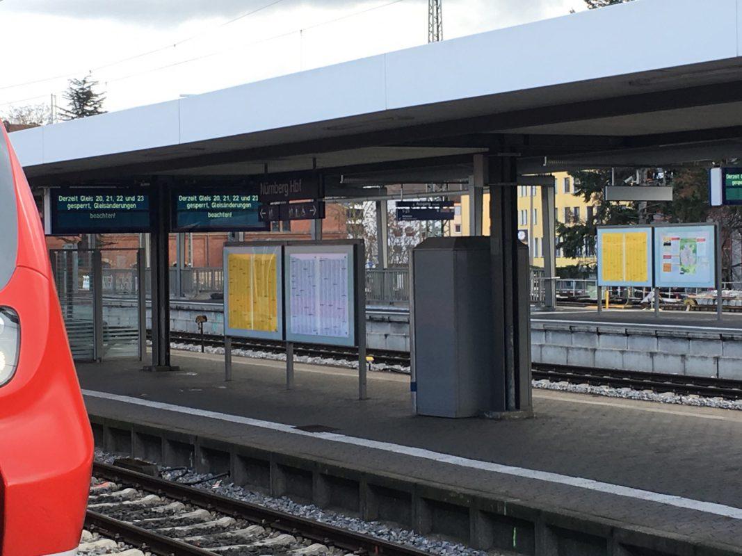 Gesperrte Gleise am Nürnberger Hauptbahnhof. Foto: Johannes B.
