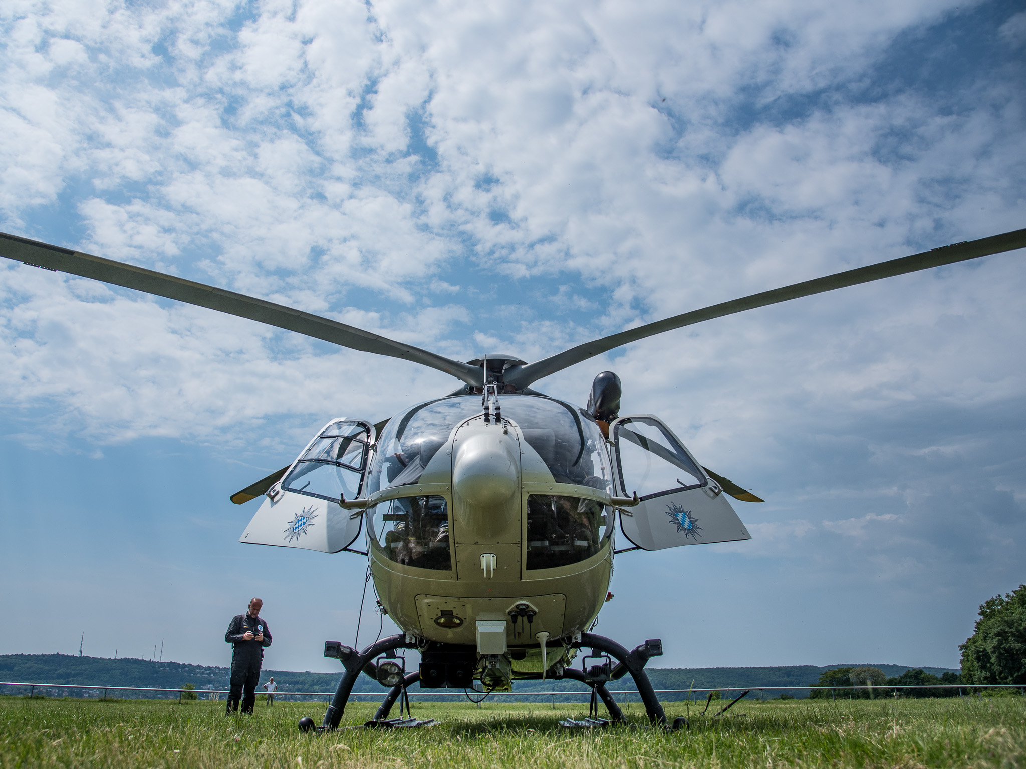 Der Helikopter der Polizeihubschrauberstaffel Bayern. Foto: Pascal Höfig