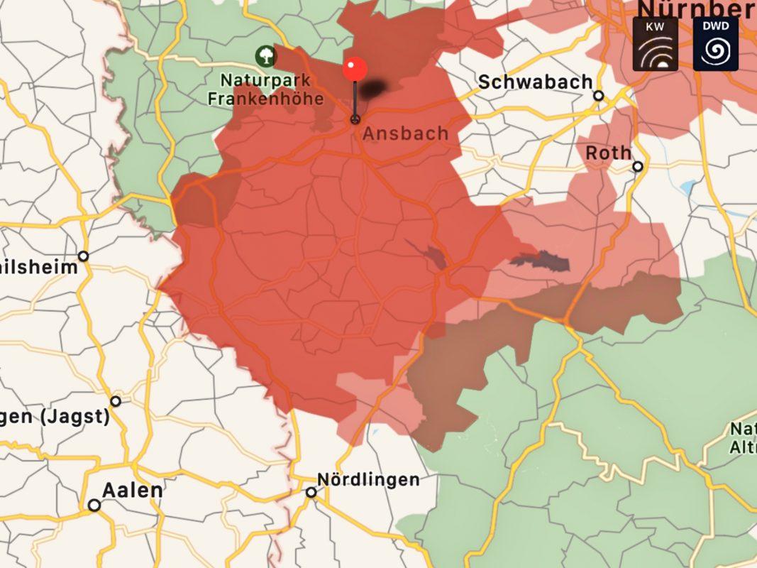 Aktuelle Gefahrenlage in Mittelfranken. Foto: KATWARN (Screenshot).