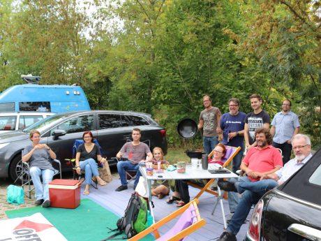 Parkplatz wird am Parking Day zum Grillplatz. Foto: Offene Linke Ansbach