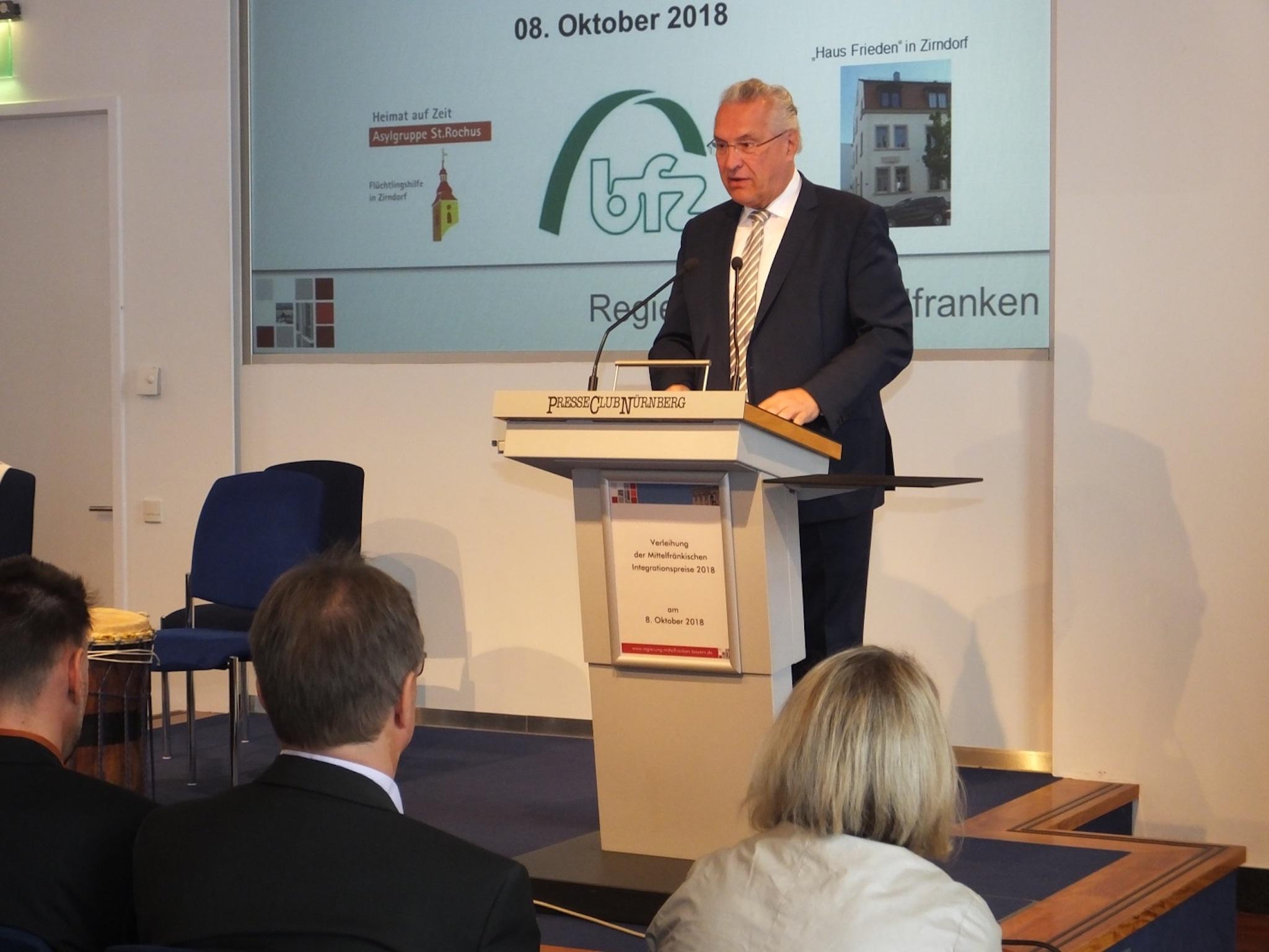 Bayerns Integrationsminister Joachim Herrmann. Foto: Regierung von Mittelfranken