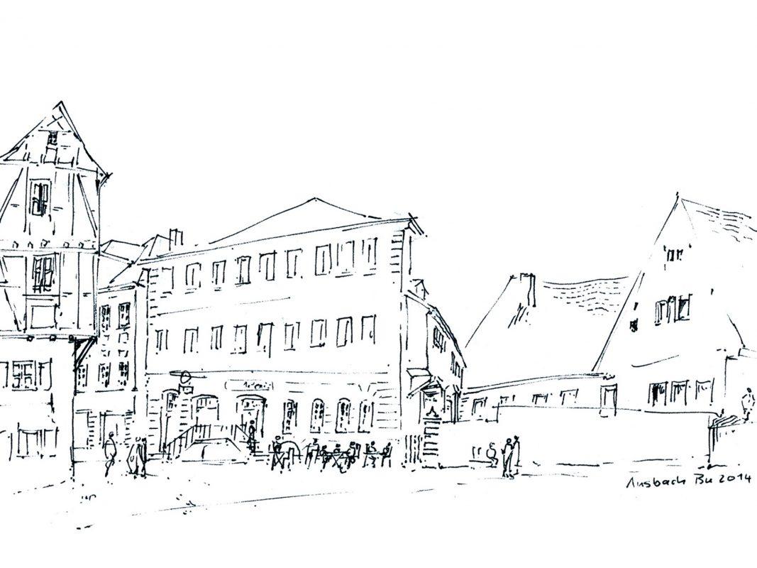 Eine Illustration der Ansbacher Altstadt. Bild: Walter Buckel