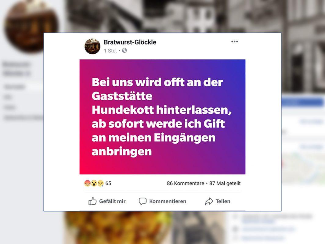 """""""Giftköder""""-Posting des Bratwurst-Glöckle – mittlerweile wurde der Beitrag auf Facebook gelöscht. Screenshot: Facebook I Bratwurst-Glöckle"""