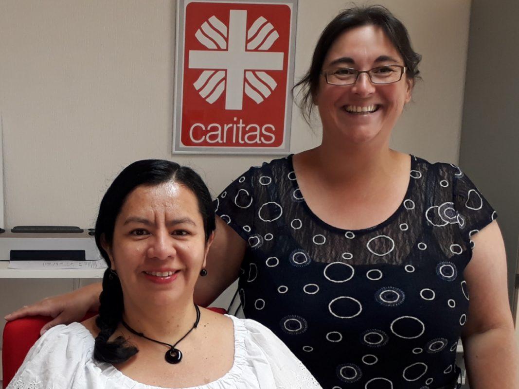 Ihre Ansprechpartnerinnen bei der Caritas: Hasive Pachur und Petra Pfitzinger. Foto: Caritas Weissenburg-Gunzenhausen