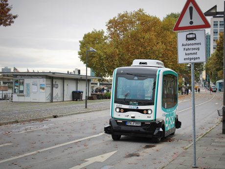 Autonomer Bus in Frankfurt. Foto: Jessica Hänse