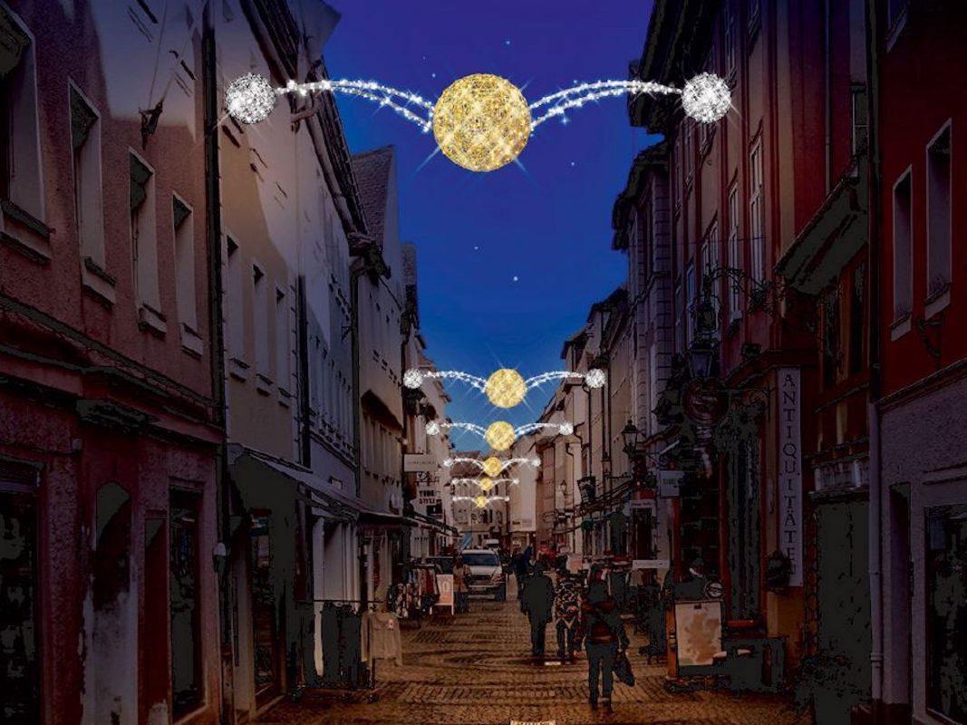 Neue Elemente bei der Weihnachtsbeleuchtung in Ansbach. Fotoquelle: CM AN e.V.