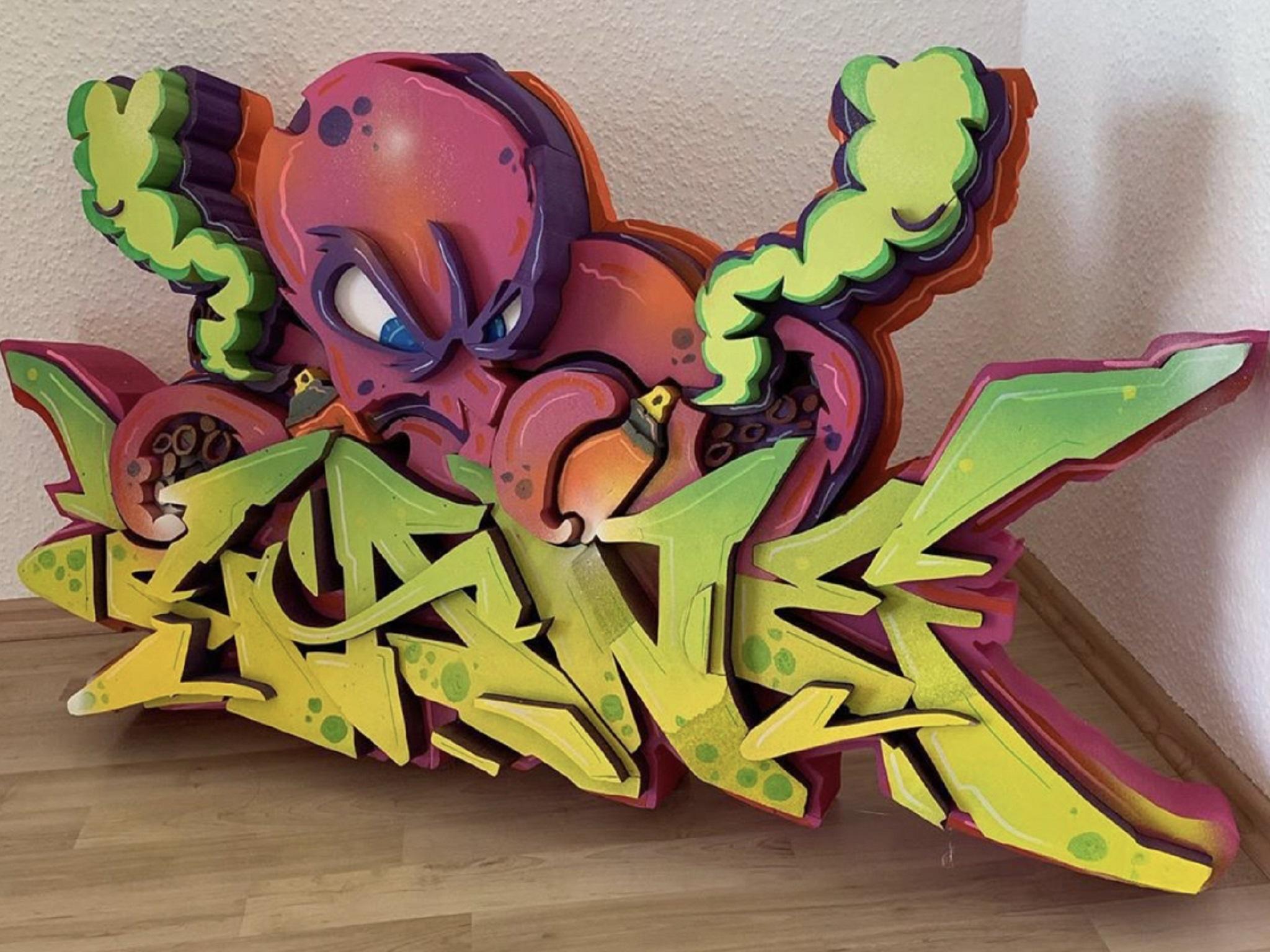 Graffiti-Skulpturen aus Styrodur. Foto: Marco Holzinger
