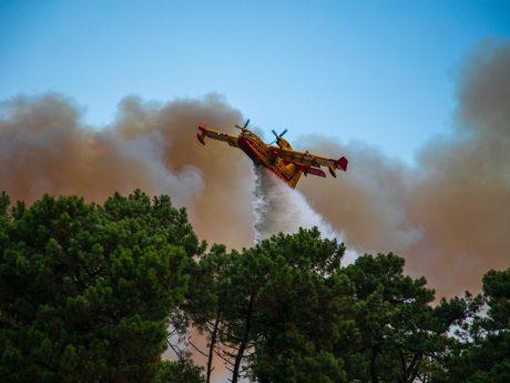 Etwa 150 Feuerwehrkräfte waren bei der Brandbekämpfung im Einsatz, 16 Personen mussten aufgrund von Rauchvergiftung behandelt werden. Zum Einsatz kamen zudem Löschflugzeuge aus dem gesamten Département Pyrénées-Atlantiques, um den Großbrand zu löschen. Foto: Privat