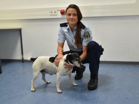 Der zutrauliche Hund mit einer Beamtin der Bundespolizei. Foto: Bundespolizei