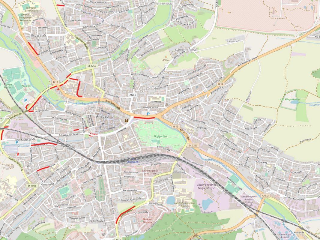 Die fehlenden Fußwege wurden auf der Karte markiert. Foto: OpenStreetMap