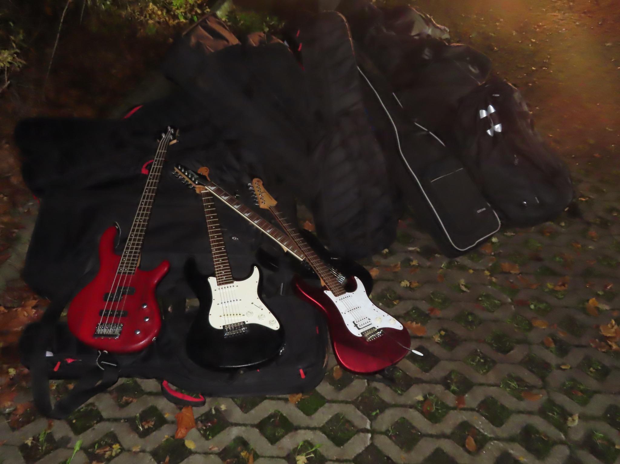 Die gestohlenen Musikinstrumente am Fundort. Foto: Polizei