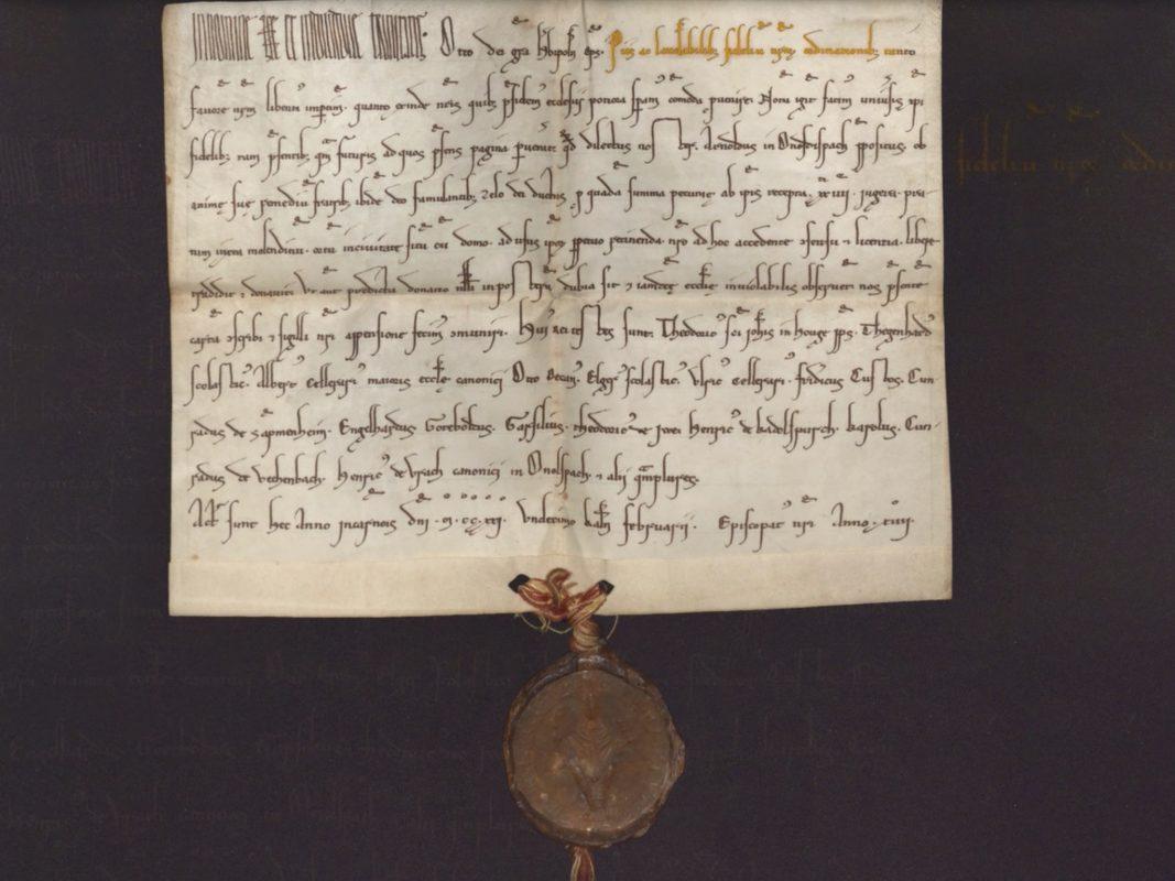 Erste urkundliche Erwähnung von Ansbach. Foto: Copyright: Hauptstaatsarchiv München/Staatsarchiv Nürnberg