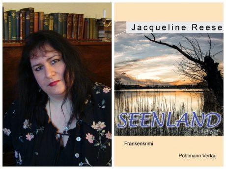 Autorin Jacqueline Reese mit ihrem neusten Frankenkrimi SEENLAND. Foto: Jacqueline Reese