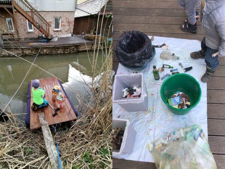 Links: Das Siegerbild der Sammelaktion. Foto: Privat. Rechts: Etwa 3 Kubikmeter Müll wurden zusammengetragen. Foto: Montessori-Kindergarten