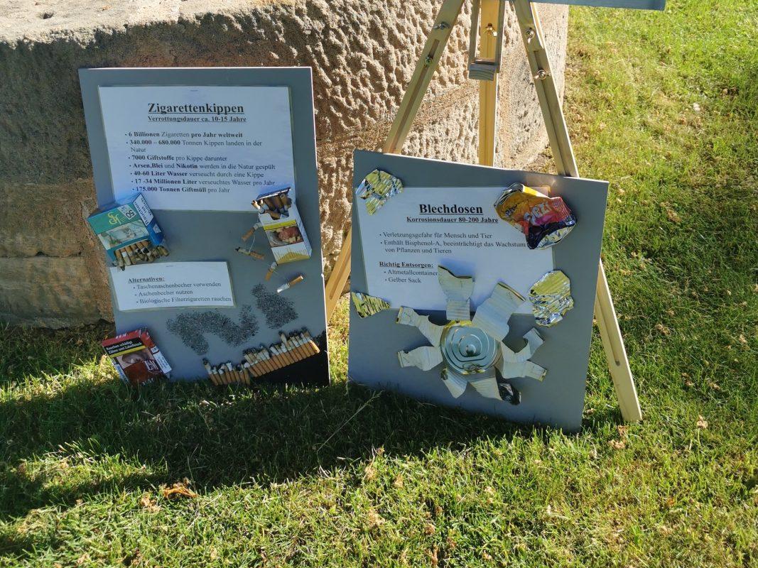 Zwei Plakate mit Müllobjekten, die Liza oft in der Natur findet. Foto: Liza Zwanziger