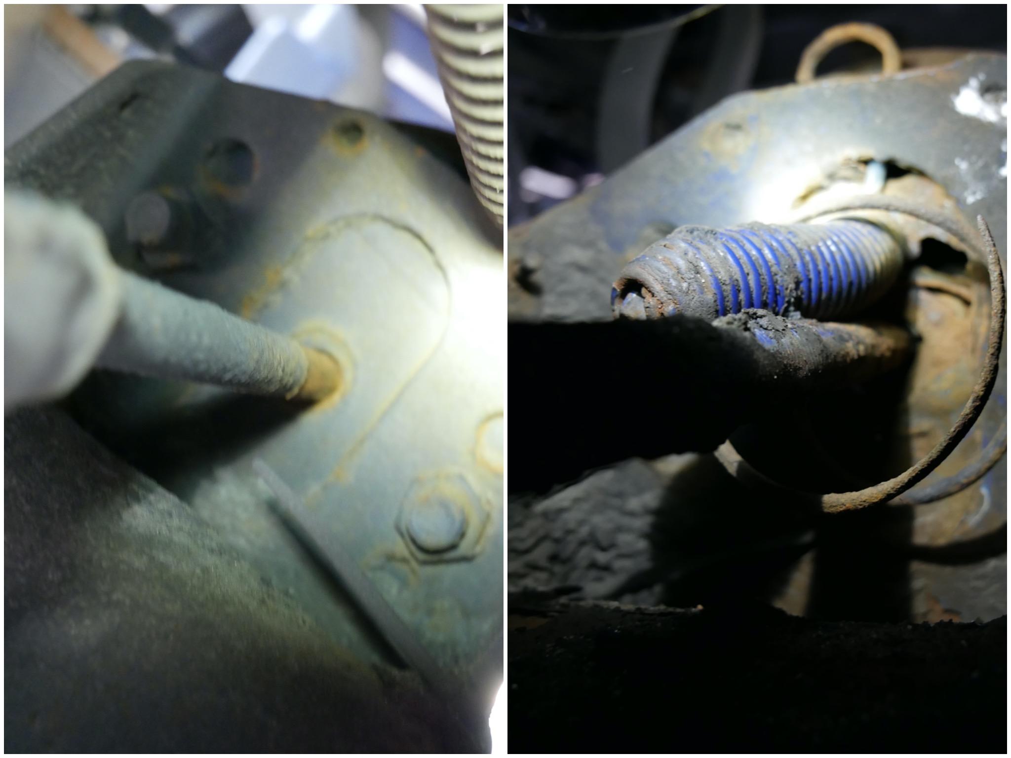 Ein nicht zu beanstandender Bremszylinder (links) und der durchgerostete Bremszylinder. Fotos: Polizei