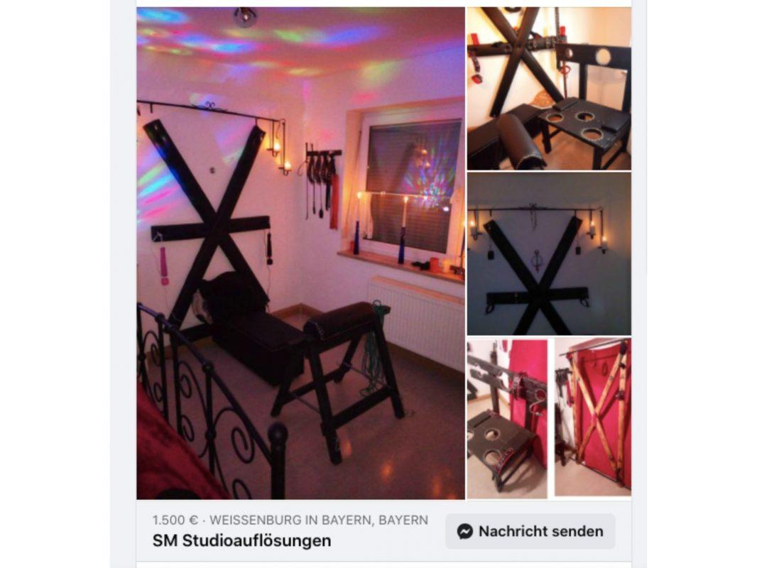 Für 1500 Euro gibt es ein voll ausgerüstetes SM-Studio. Auch ein sogenanntes Andreaskreuz ist mit dabei. Foto: Screenshot Facebook (Flohmarkt Würzburg)