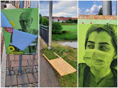 Im Ansbacher Stadtgebiet wurden mehrere Wahlplakate der Grünen beschädigt. Fotos: Bündnis 90/Die Grünen, Ortsverband Ansbach