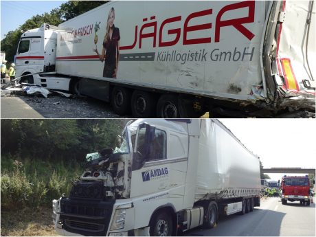 Verletzte und 300.000 € Sachschaden bei Lkw-Unfall auf A6. Fotos: Polizei